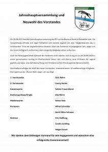 Jahreshauptversammlung mit Neuwahlen